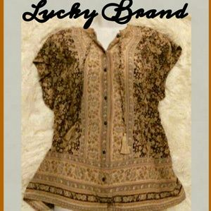 Lucky Brand Capped Sleeve Peasant Top